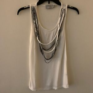 Tank Top Dressy Ribbon Trim White The Limited XS